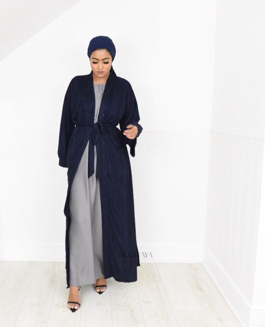 Aisha Open Abaya Navy in Suede