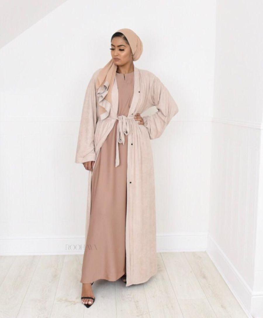 Aisha Open Abaya Sand in Suede