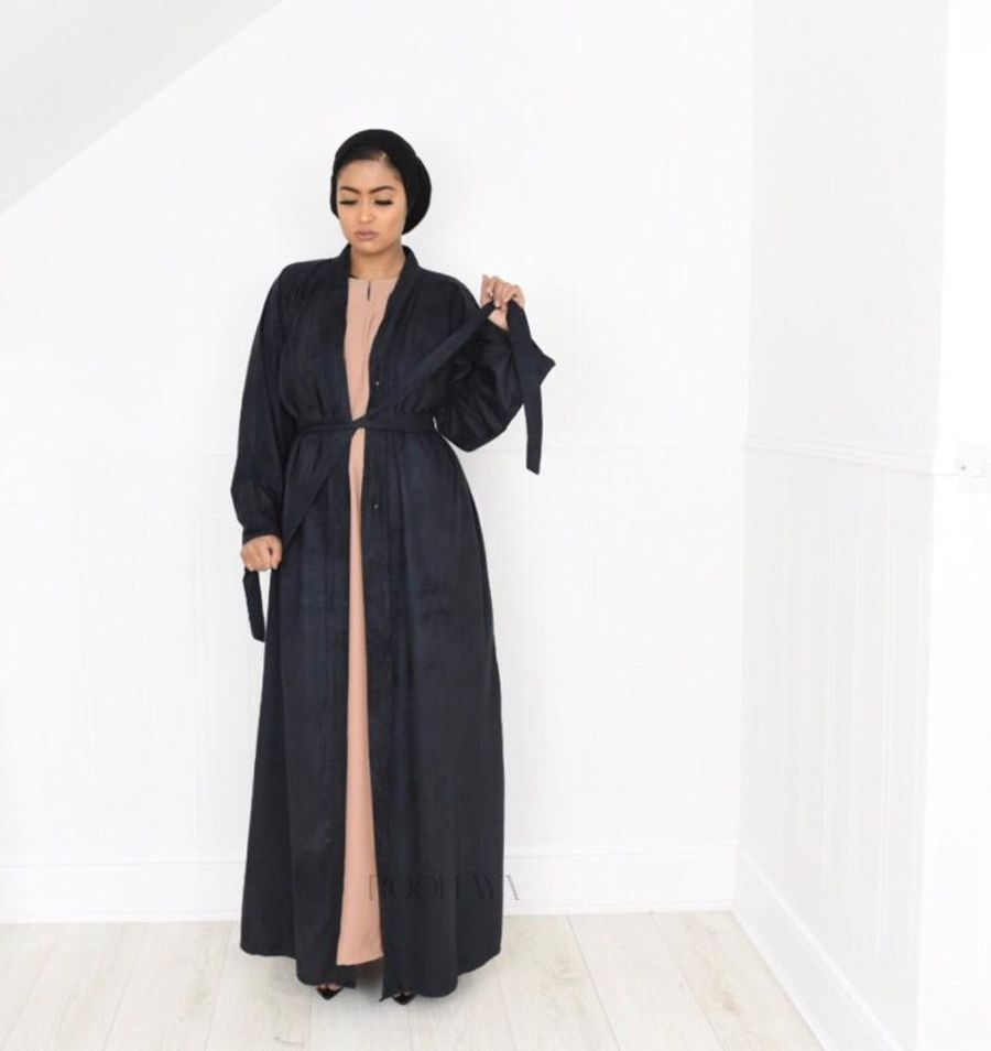 Aisha Open Abaya Black in Suede