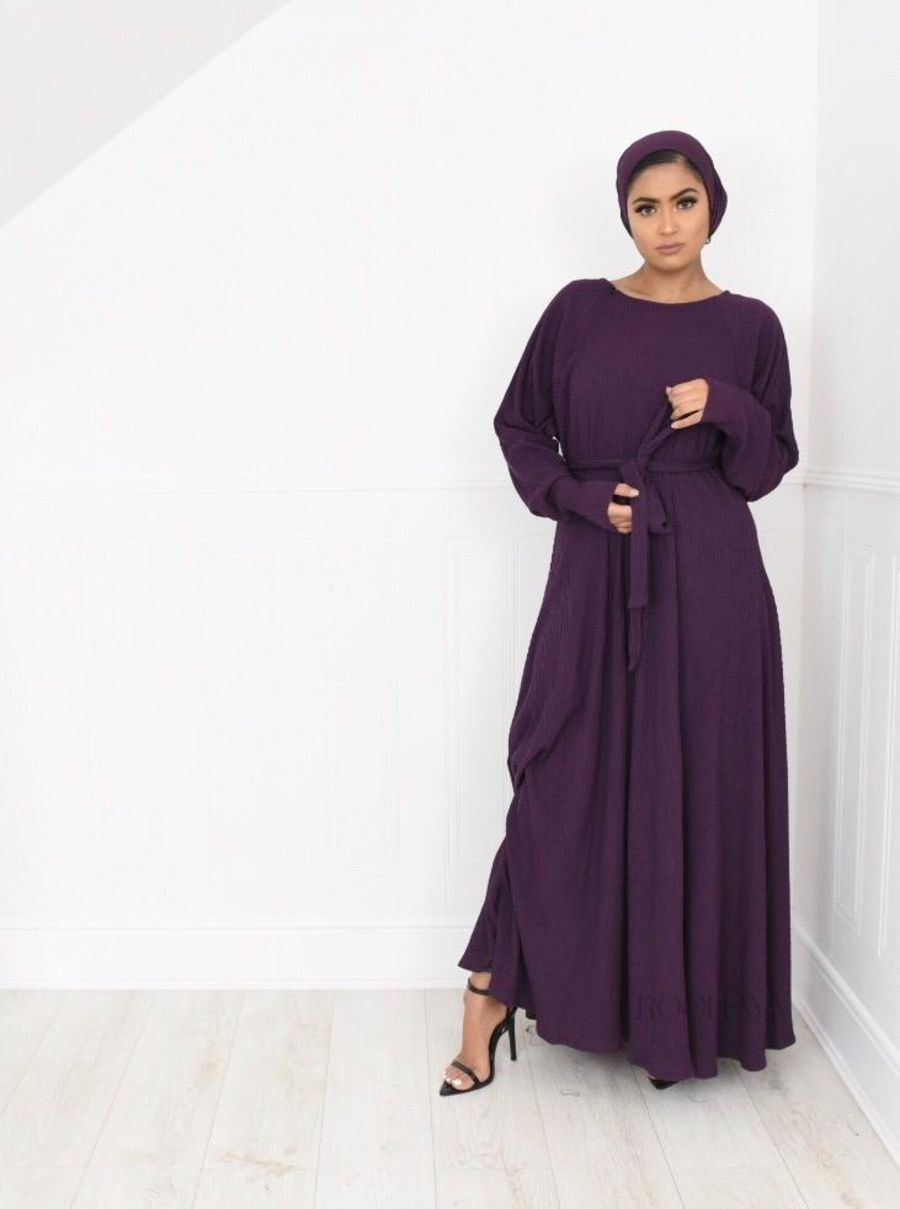 Ribbed Jersey Flair in Dark Violet
