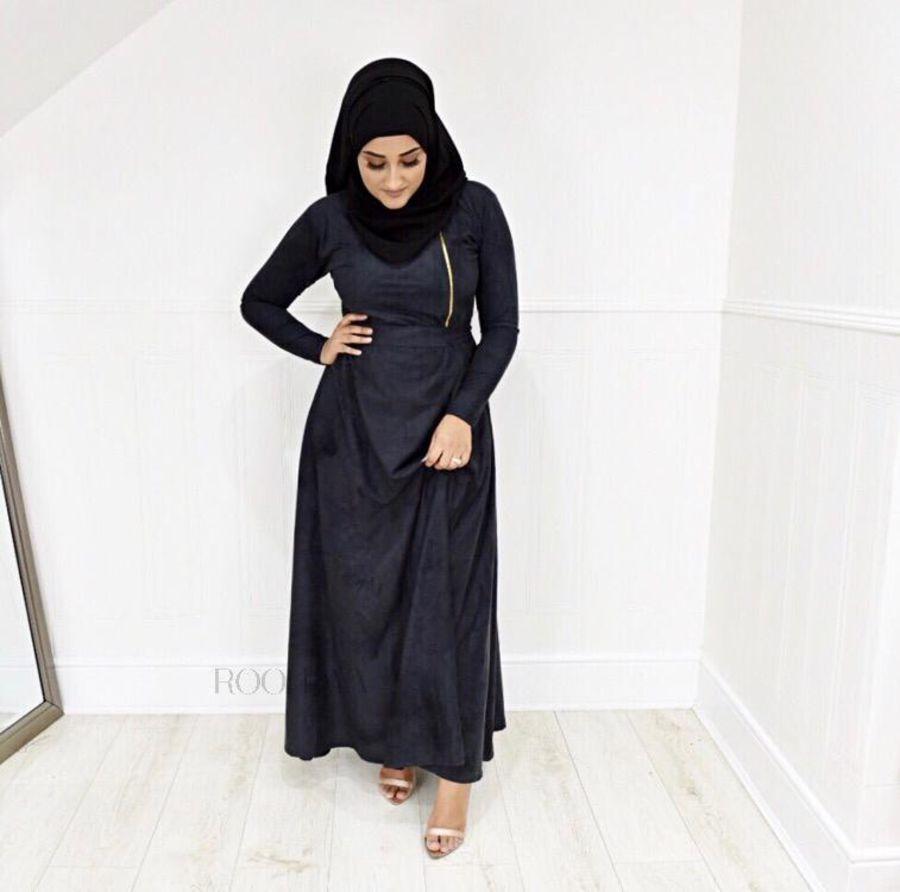 Habiba Zip flare in Black Suede