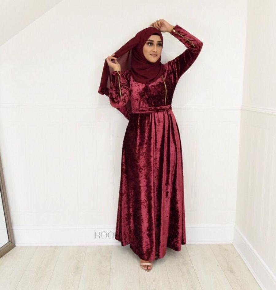 Habiba Zip flare in Maroon Velvet