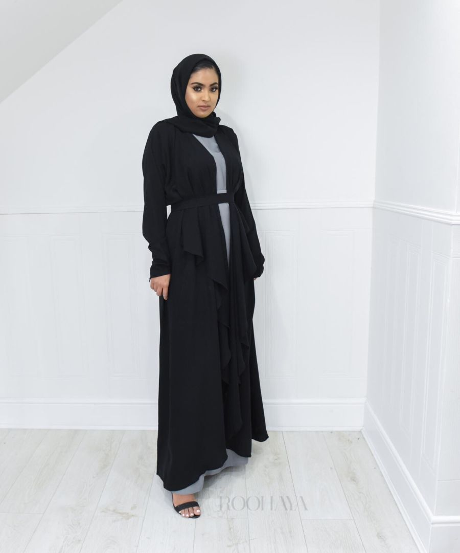Eve waterfall Abaya Black