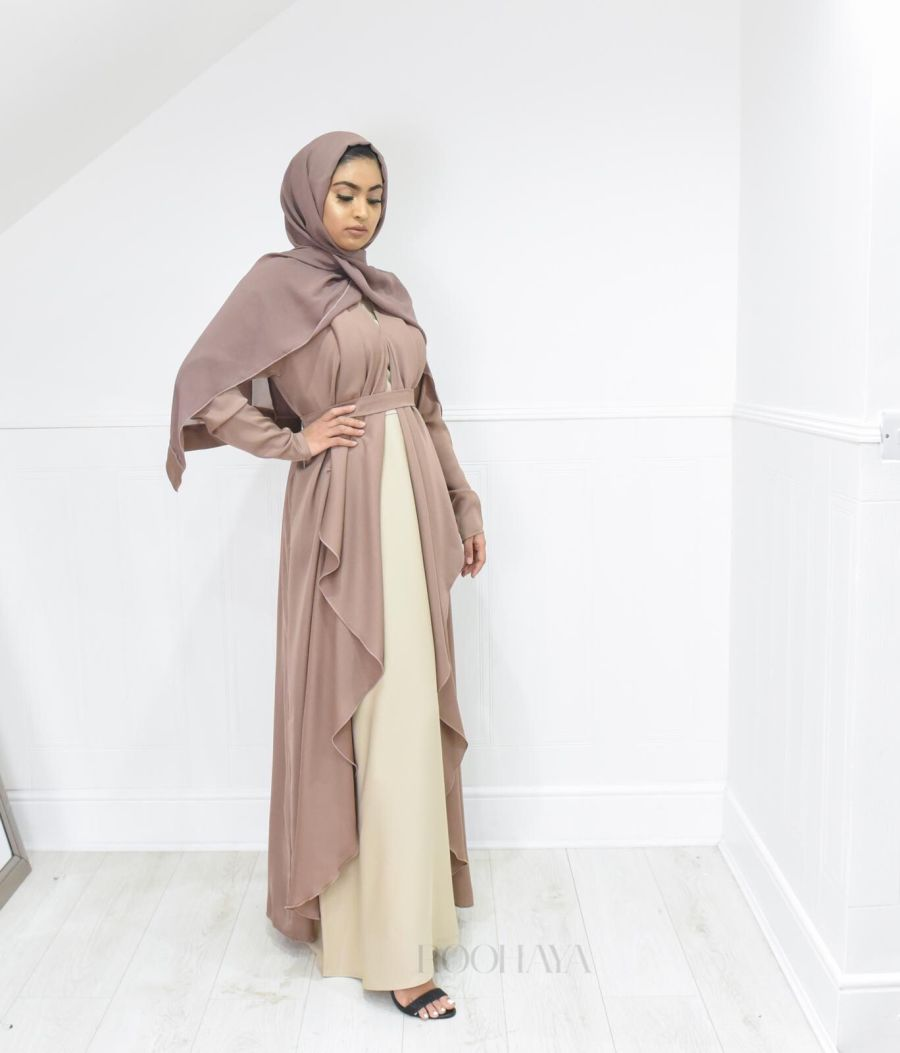 Eve waterfall Abaya Nude Blush
