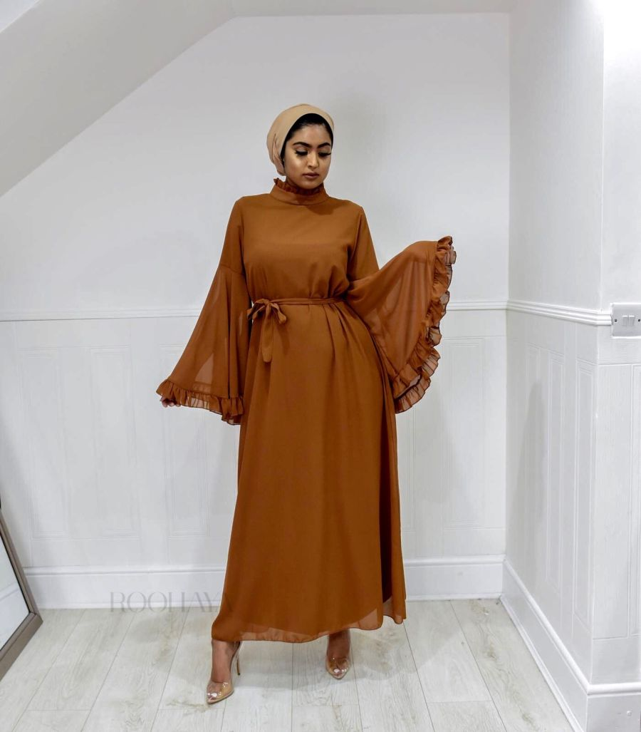 Flora Dress Camel Tan