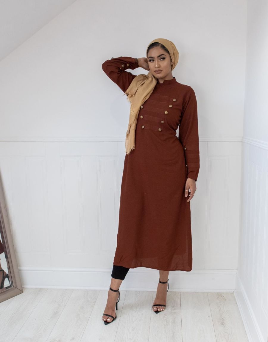 Military Kurta in Tan Brown
