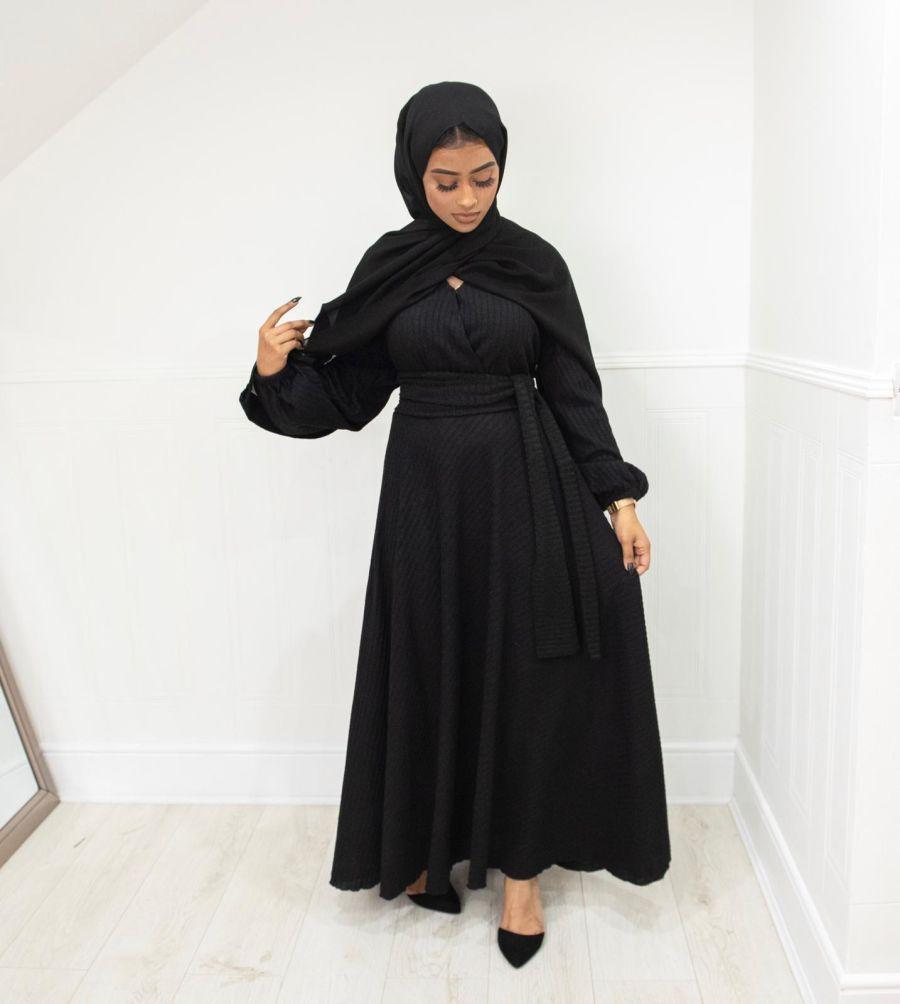Amal Ribbed fleece knit Black