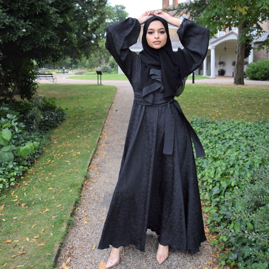 Aisha Open Abaya Black Blossom