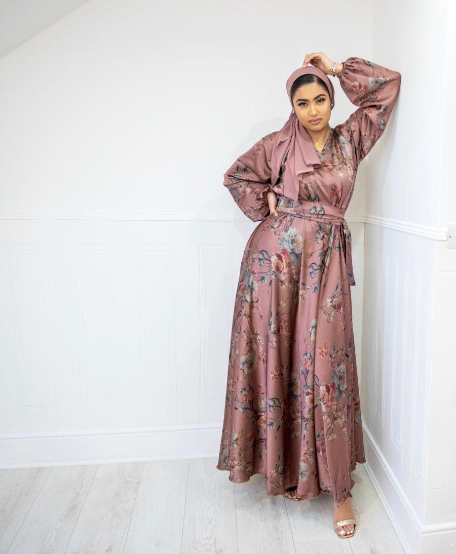 Amal Wrap Floral Vintage Dusky Pink