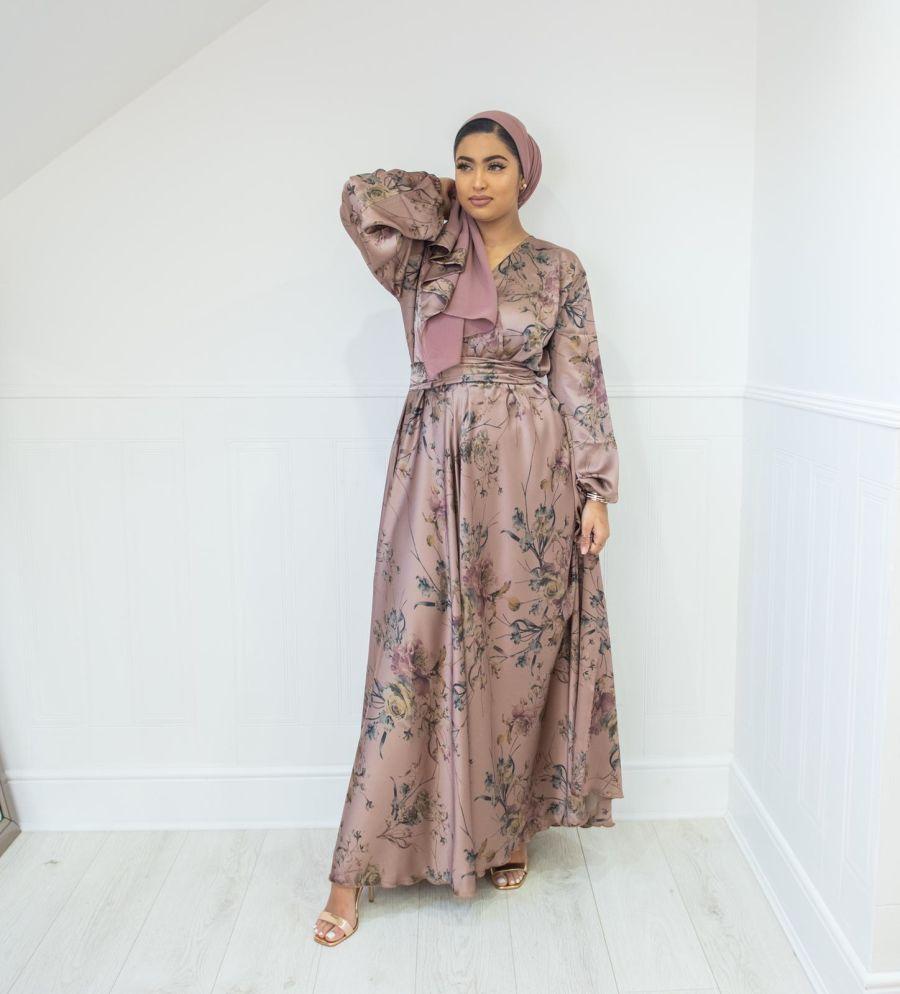 Amal Wrap Floral Vintage Grey Pink