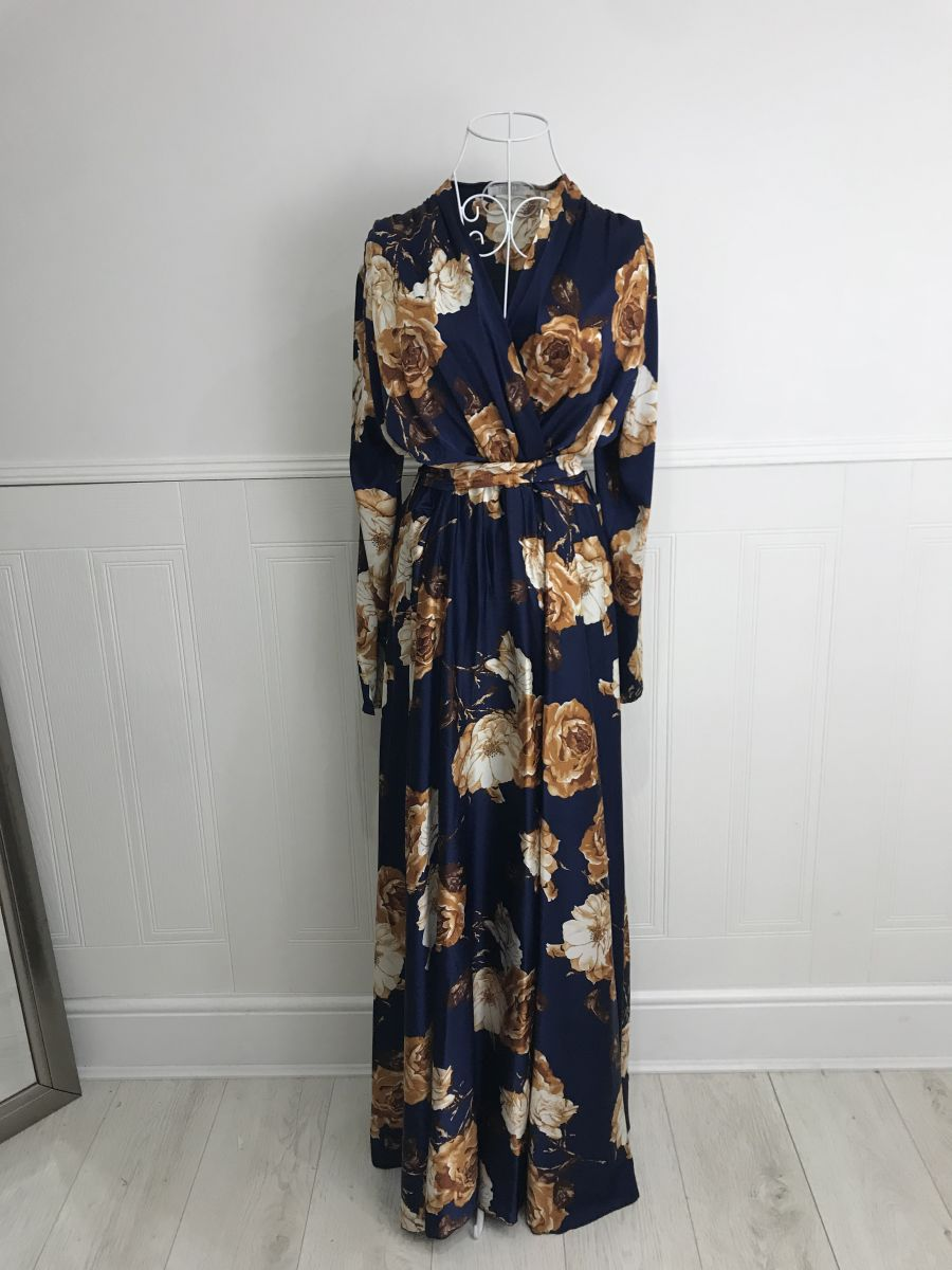 Floral Wrap tea party Navy