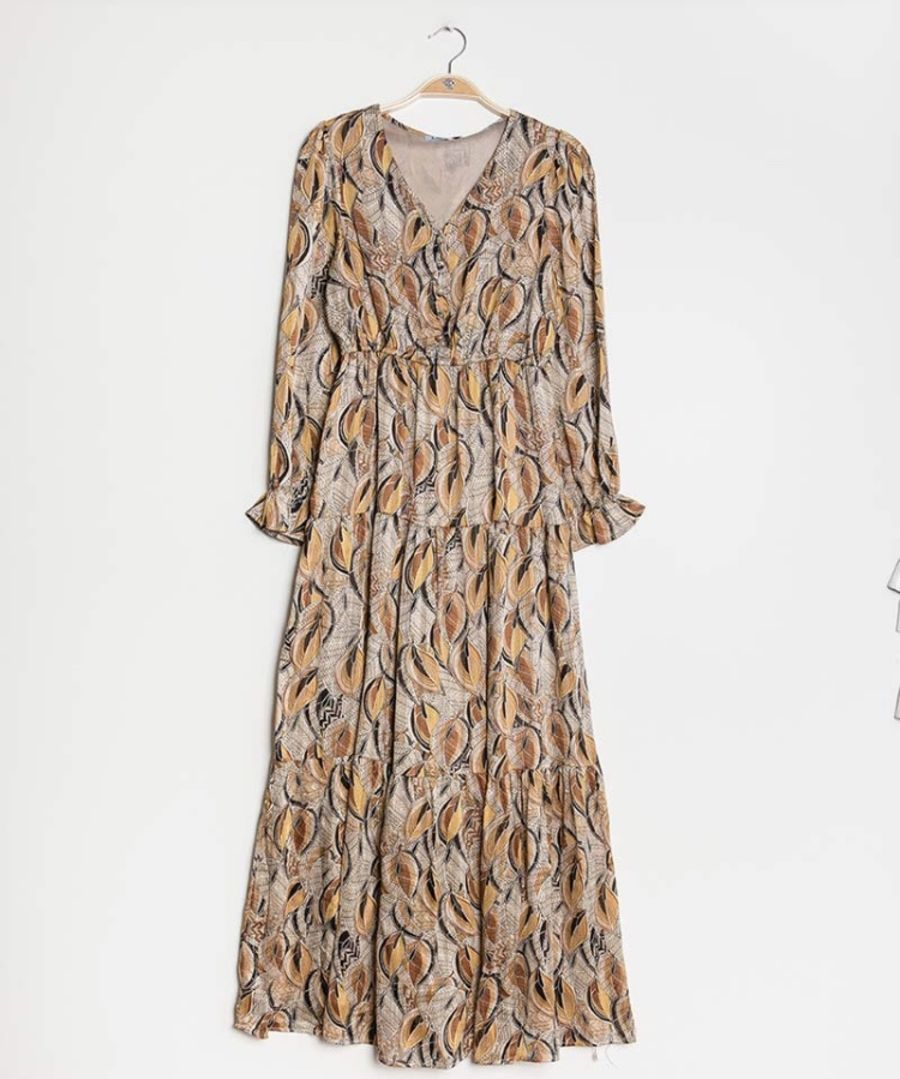 Leafy print buttoned Tan tea party dress
