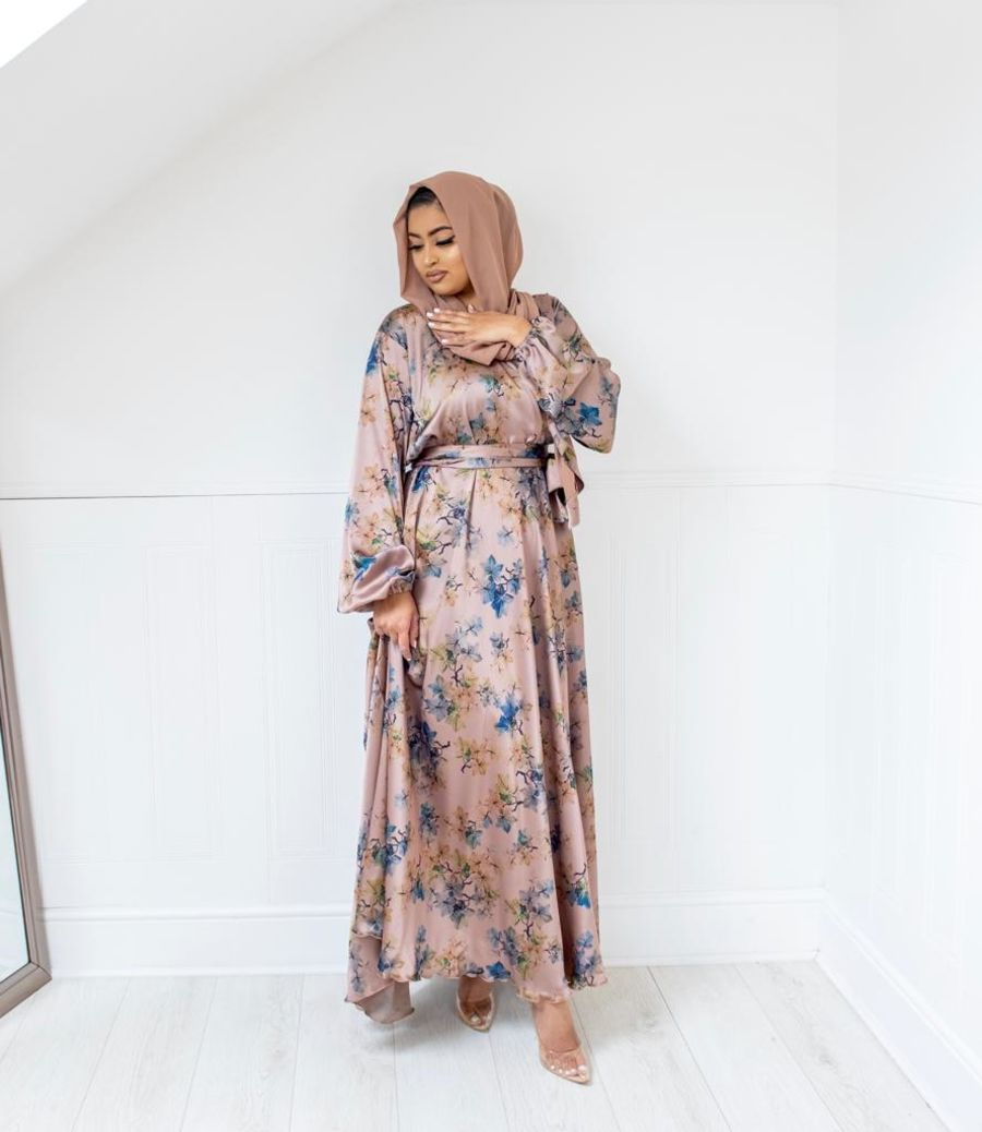 Amal Wrap flare Winter leaves Taupe Pink