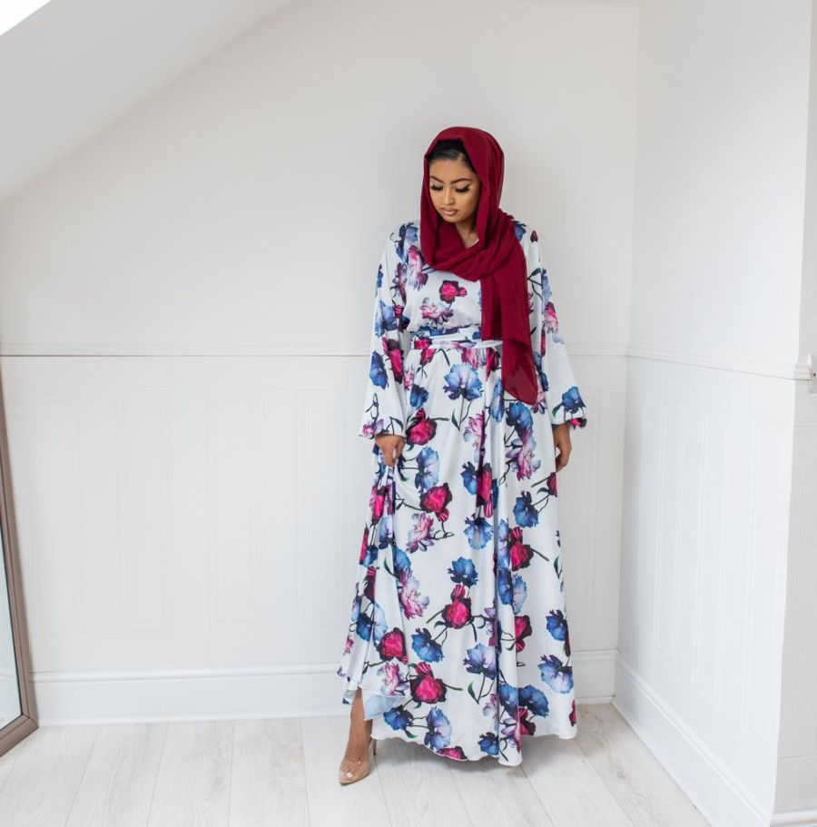 Amal Wrap flare in Winter Navy floral