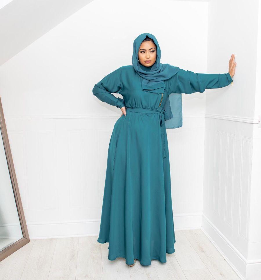 Habiba Zip flare in Teal