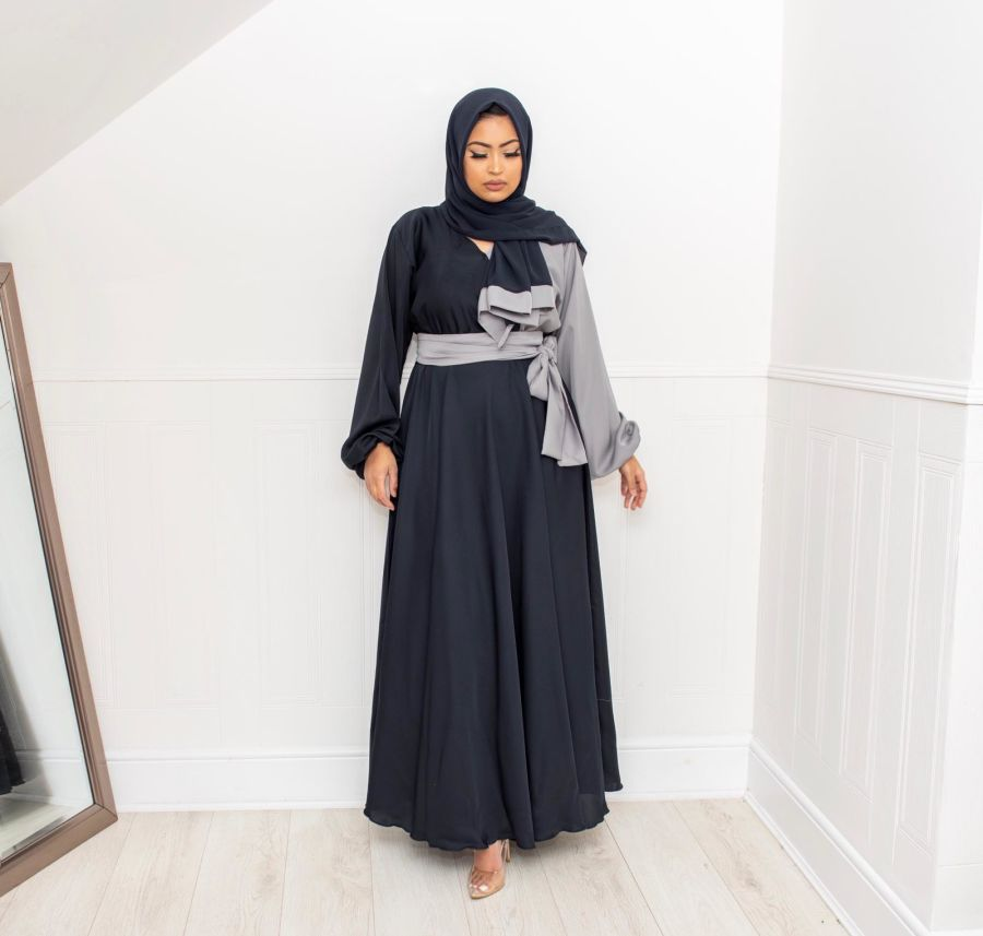 Amal wrap flare Navy and Grey
