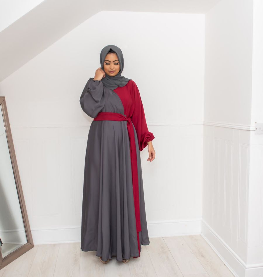 Amal wrap flare Grey and Maroon