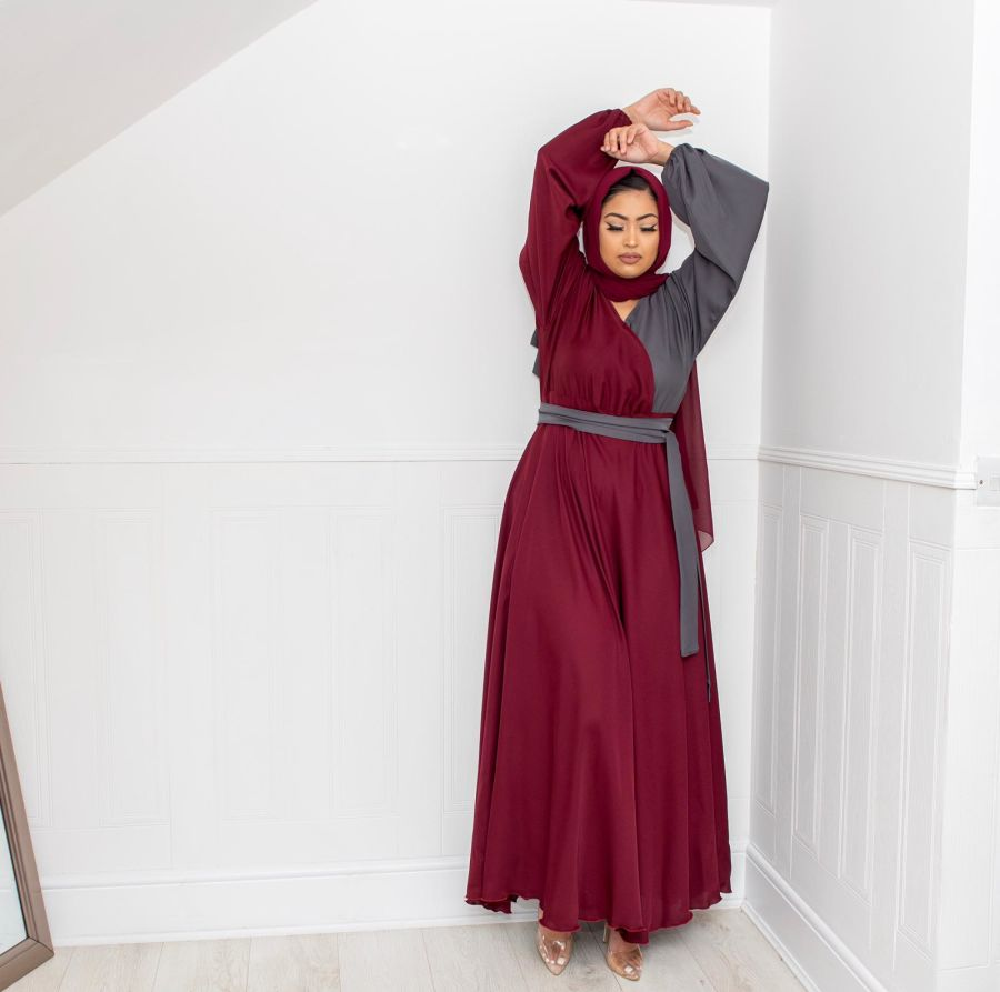 Amal wrap flare in Maroon and Grey