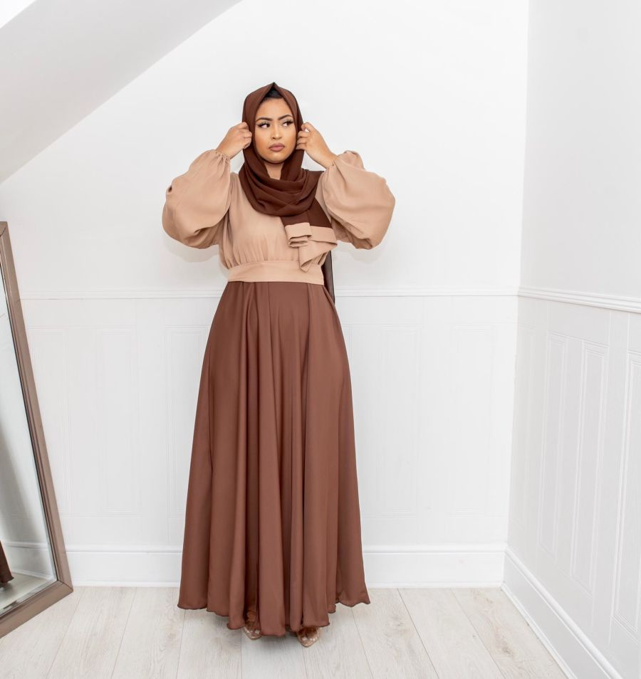 Amal blouse skirt in Brown and Beige