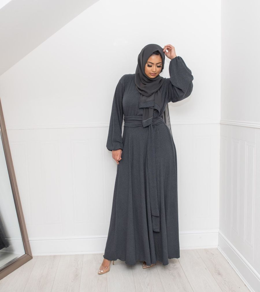Amal wrap Ribbed in Charcoal Grey