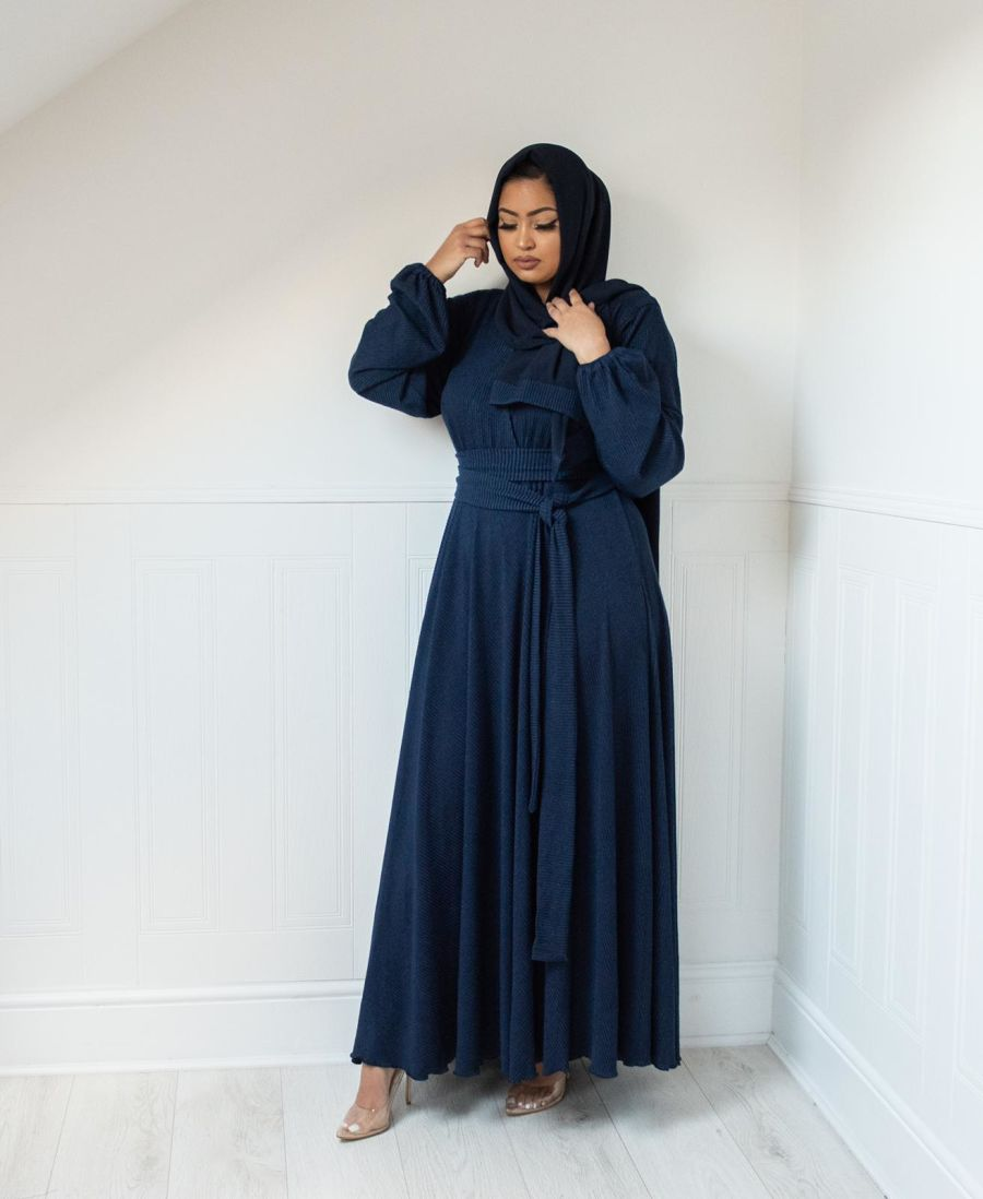 Amal wrap Ribbed Knit in Sapphire