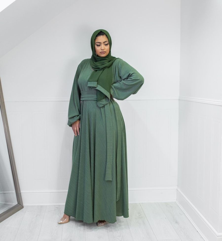 Amal wrap in fine ribbed Olive