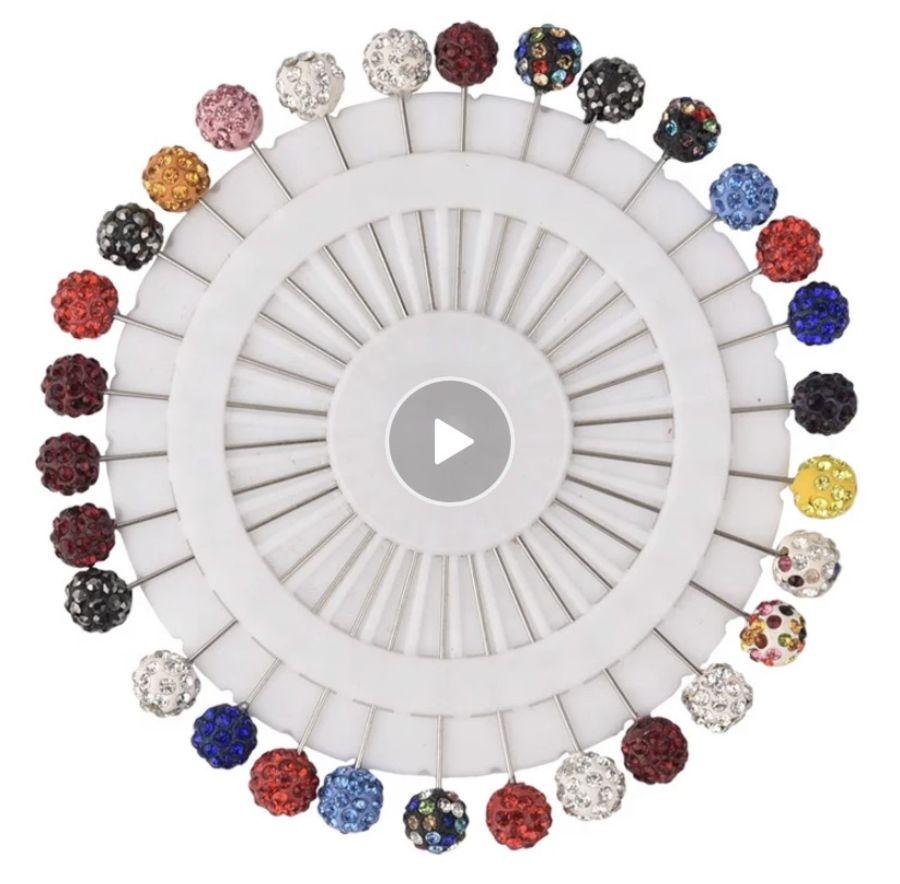 Diamonte shamballa ball hijab pins set