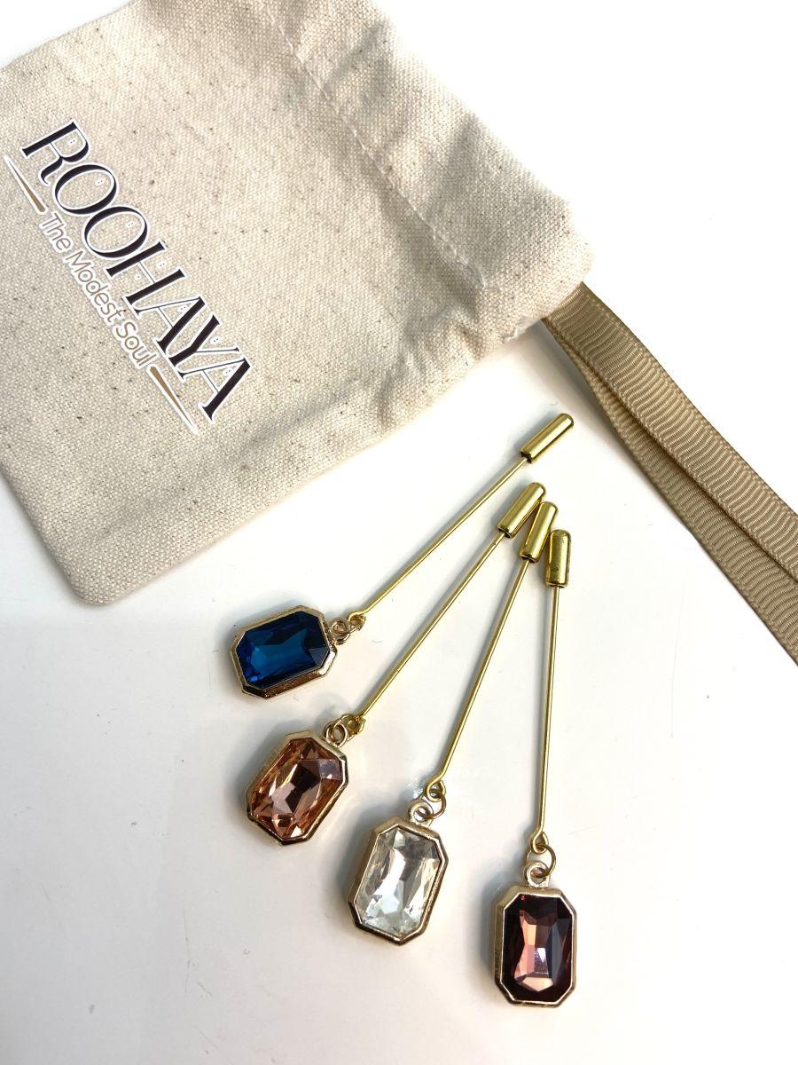 Gold Diamonte stick dangle Pins