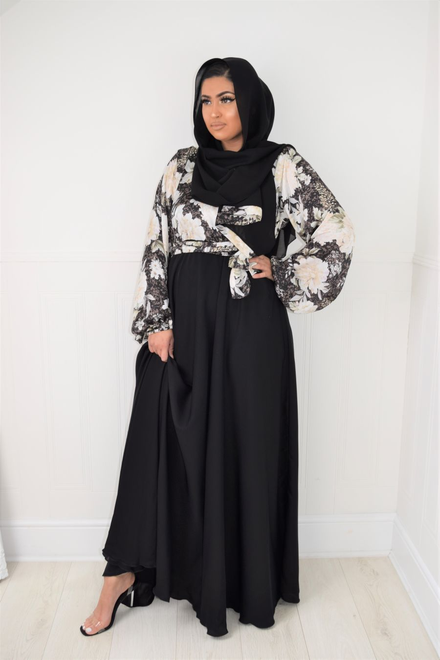 Amal wrap flare in Floral Blouse skirt