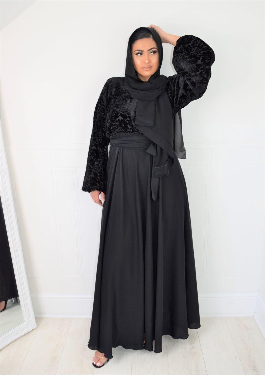 Amal wrap flare Black Velvet Chiffon