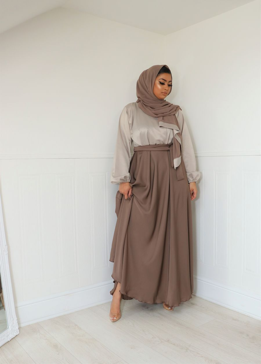 Amal wrap in satin blouse skirt Abaya