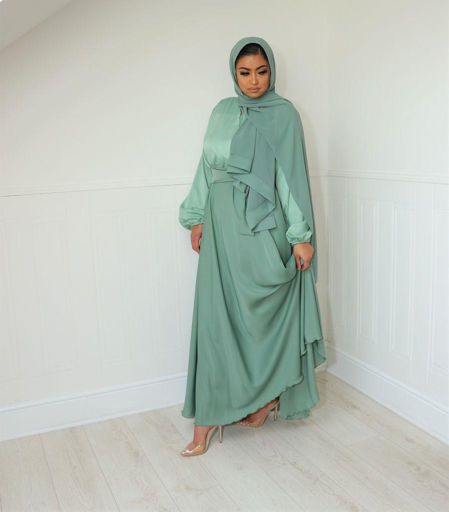 Amal wrap in satin blouse skirt Sage green
