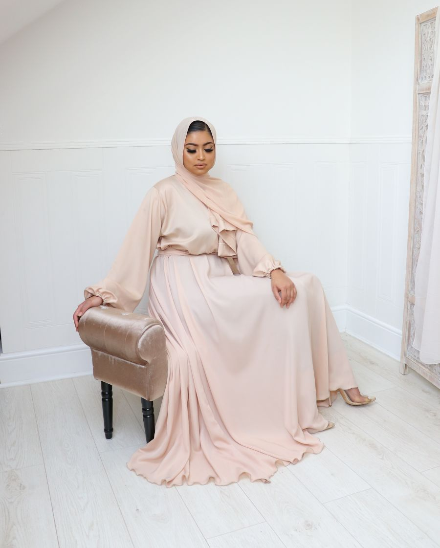 Amal wrap in satin blouse skirt hint of peach