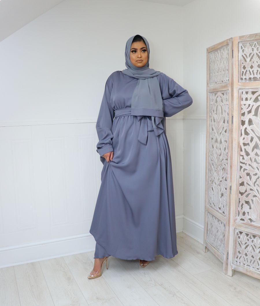 Aalia flare pocket abaya Steel Blue