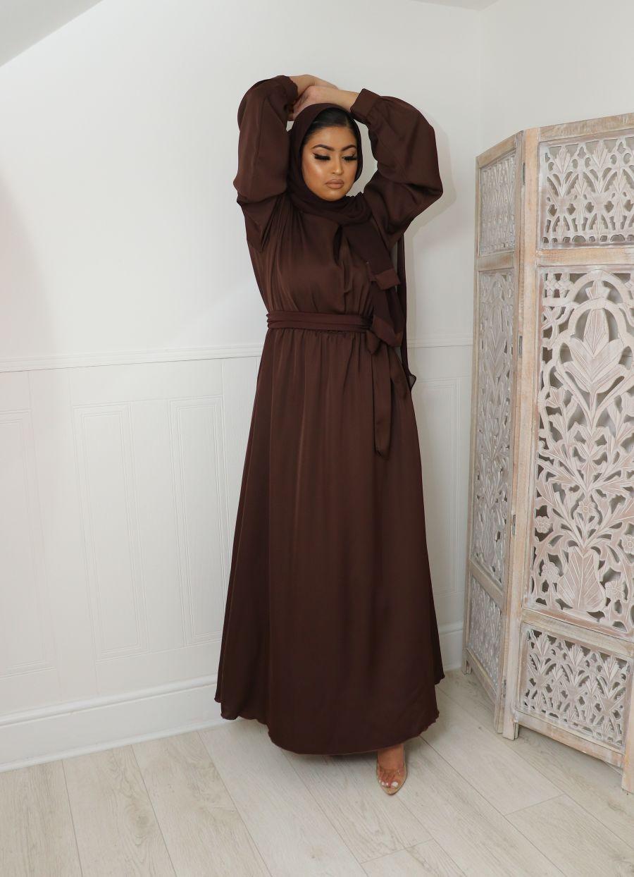 Aalia flare pocket abaya Chocolate Brown
