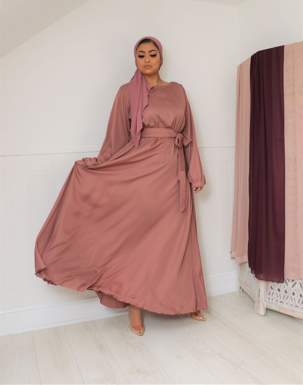 Aalia flare pocket abaya Blush Pink