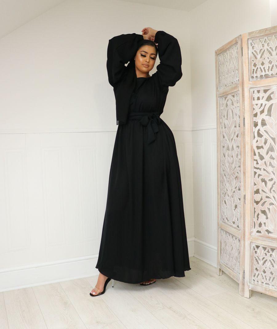 Aalia flare pocket abaya Black