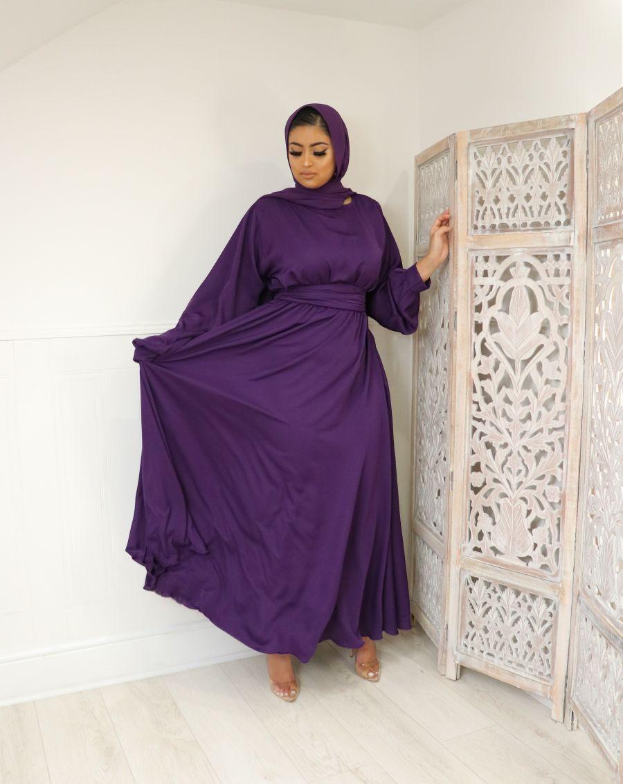 Aalia flare pocket abaya Grape