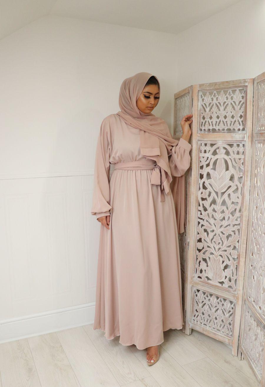 Aalia flare pocket abaya Chalk Pink