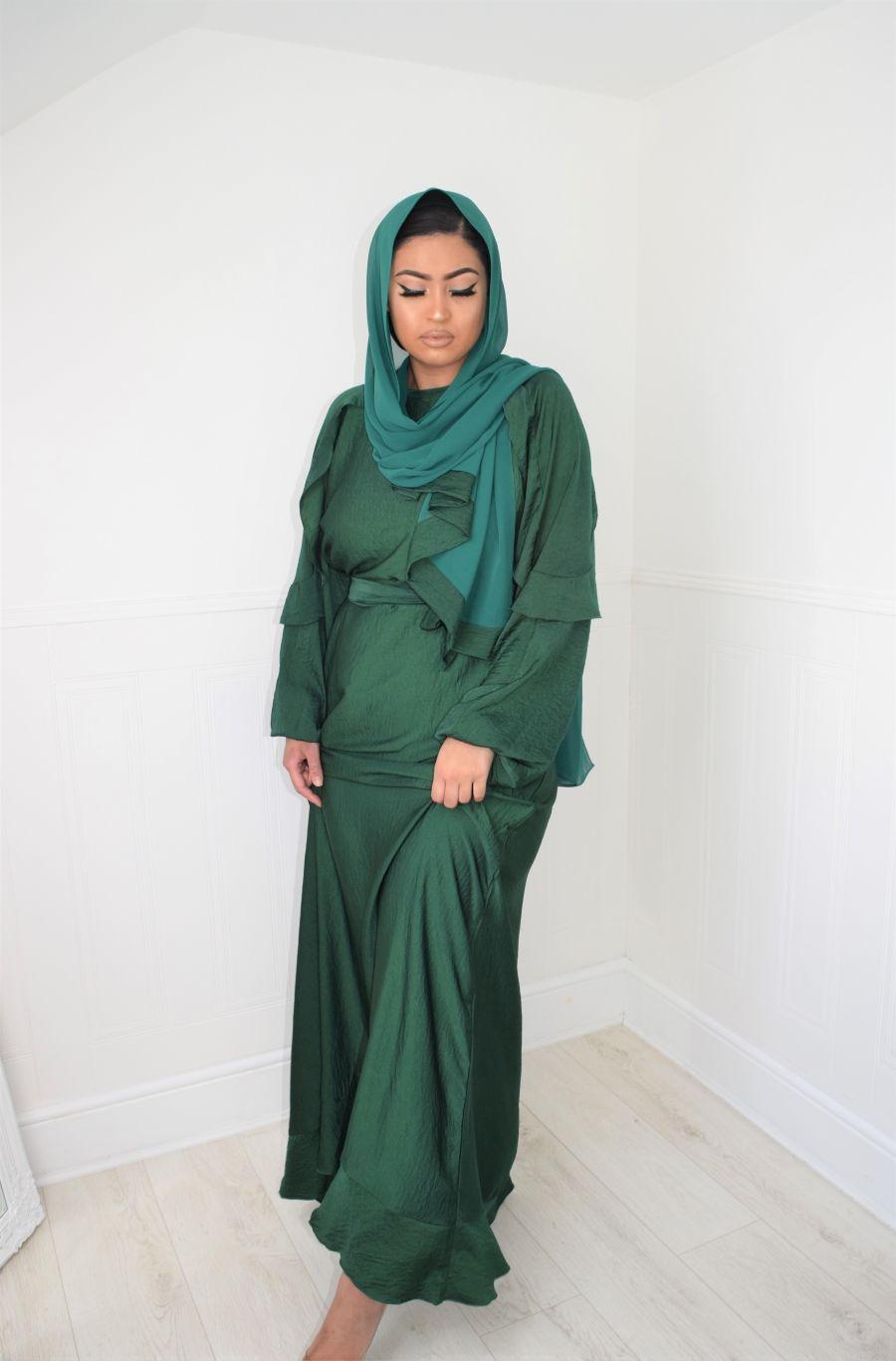 Amani frill abaya Emerald