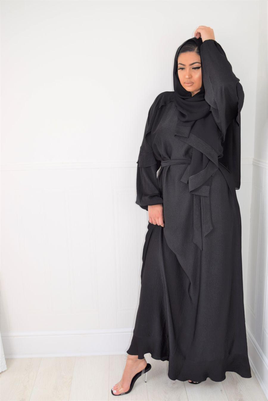 Amani frill abaya Black