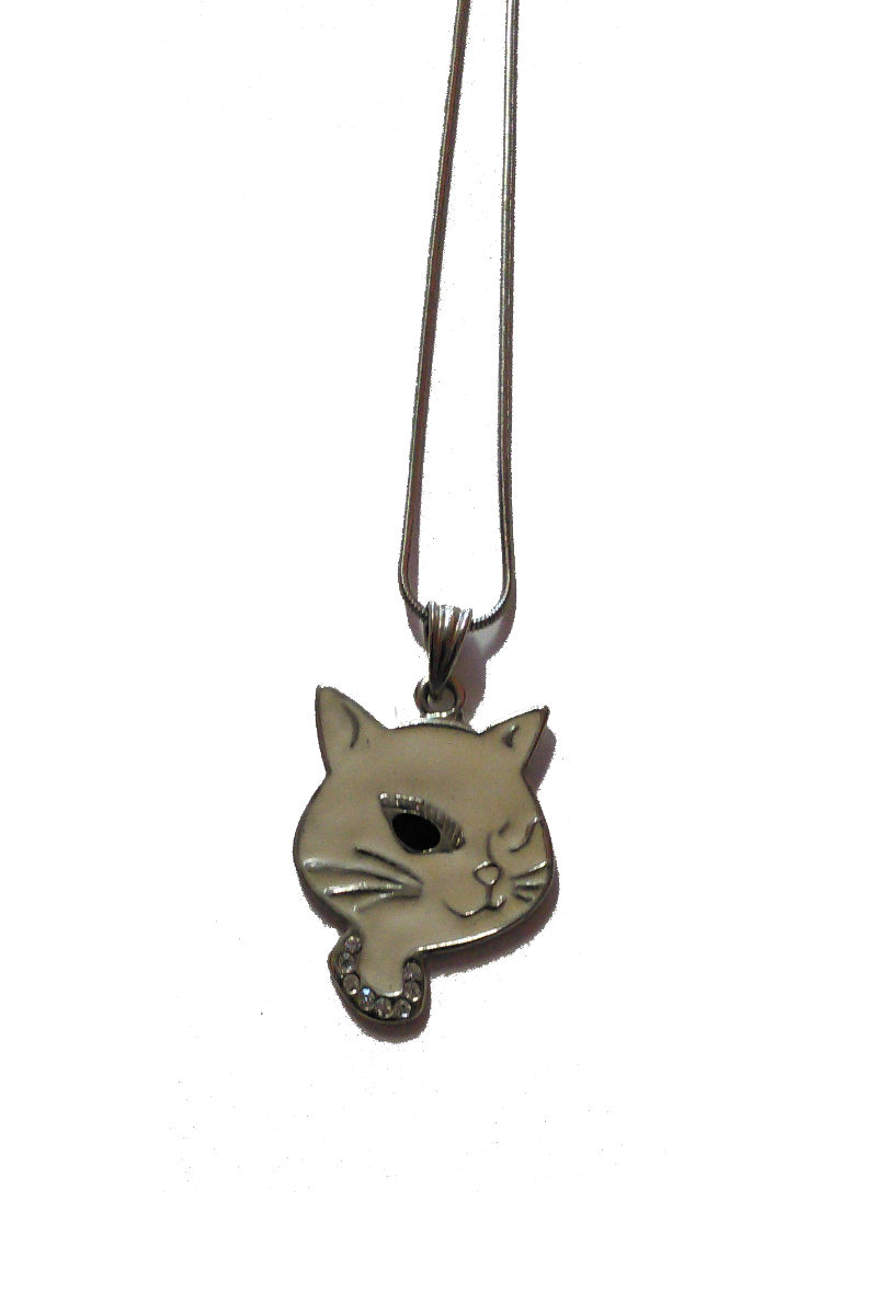 White Kittycat Necklace