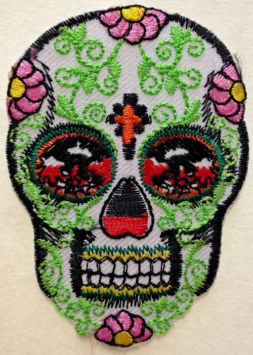 Day Of  The Dead Sugar Skull Iron On Patch