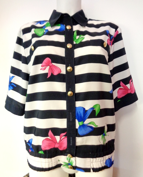 Vintage Women's striped and bows blouse