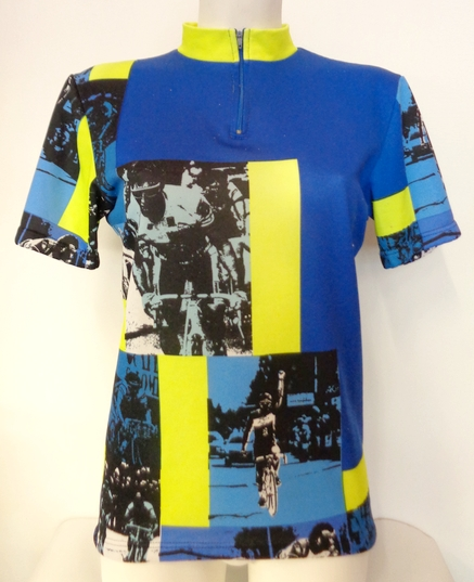 Vintage 80's Sporty Cycle Top Blue and Yellow