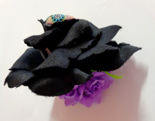 Voodoo Betty's Black and Purple Rose Hair Accessory