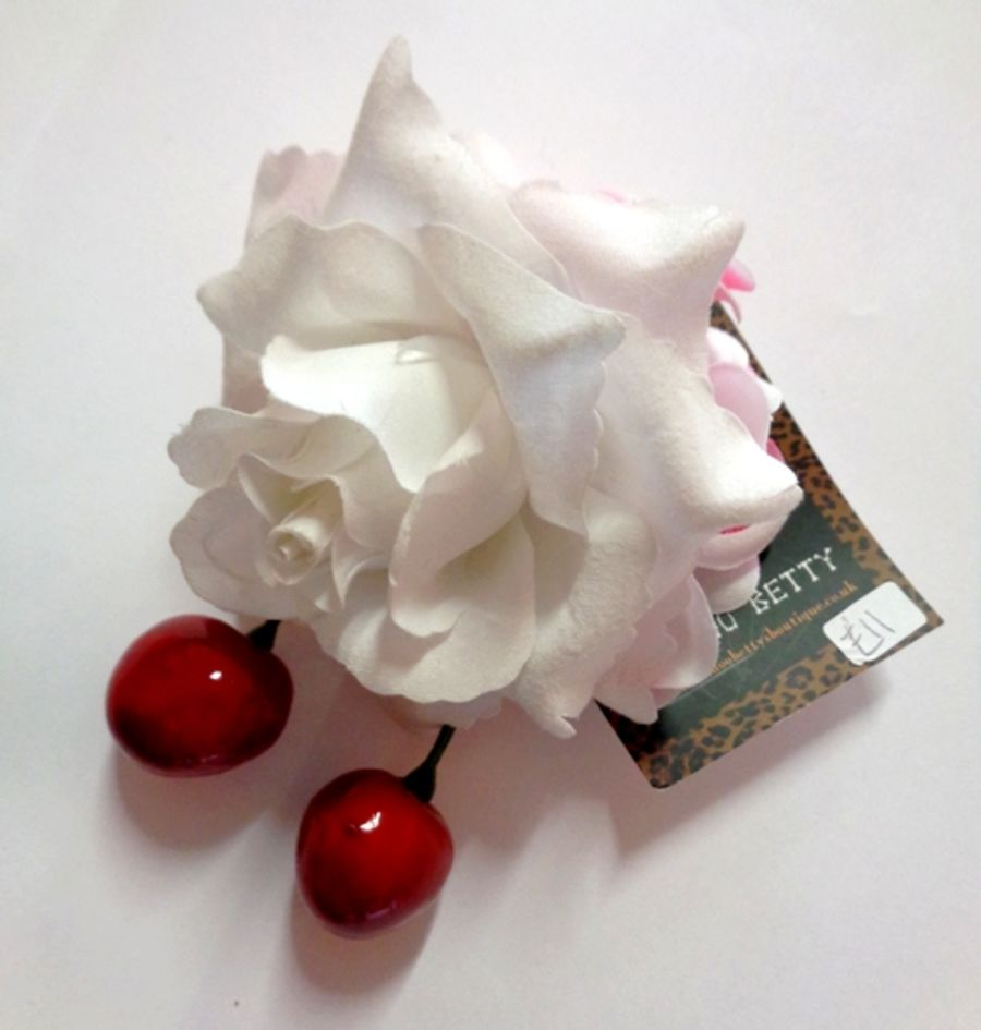 Voodoo Betty's White Rose And Cherries Hair Accessory