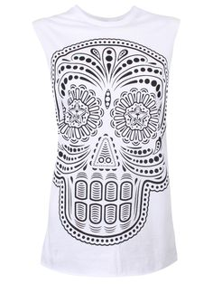 Women's Sugar Skull White Vest Top