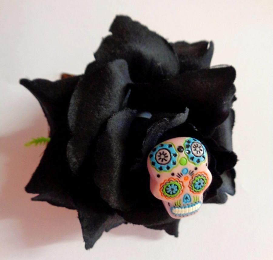 Voodoo Betty's Calavera Black Roses Hair Accessory