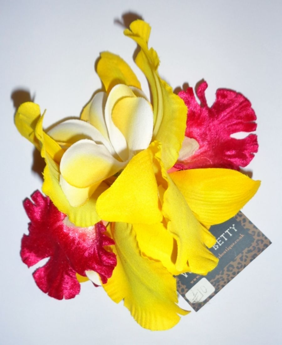 Voodoo Betty's Yellow And Pink Lillies Hair Accessory